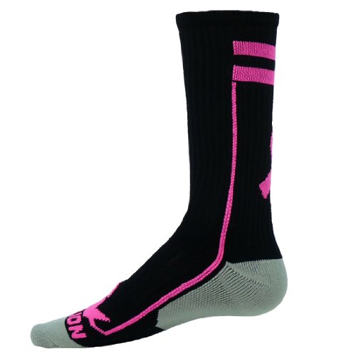 Red Lion Ribbon Apex Crew Breast Cancer Awareness Sock ( Black / Pale Pink - Large )