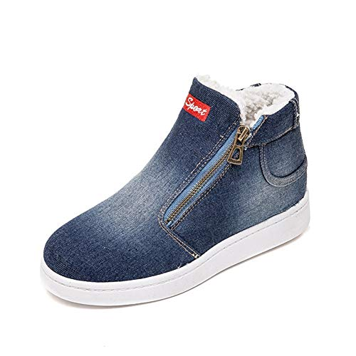 Student forty Shoes Thickening Women's one Denim Large Size Boots Winter deep Snow Flat Shoes Ykfchdx Blue Cotton BwCnqvUB