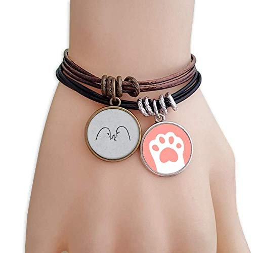 DIYthinker Wrist Wrestling Black Cute Chat Emoji Cats Bracelet Leather Rope Wristband Couple Set by DIYthinker