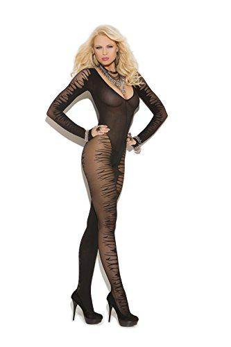 Hot Spot Sexy Women's Long Sleeve Sheer Jacquard Bodystocking Sleepwear Lingerie Black ()