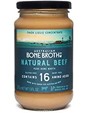 Australian Beef Bone Broth Concentrate - Neutral Flavour, 37 Servings - Super Healthy nutrient dense broth. Nourishing for the body- Great for soups, stock, beverage drink. Made in Australia 375 gram Jar.