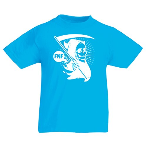 N4631K Funny t shirts for kids Death (12-13 years Light Blue Multi Color)