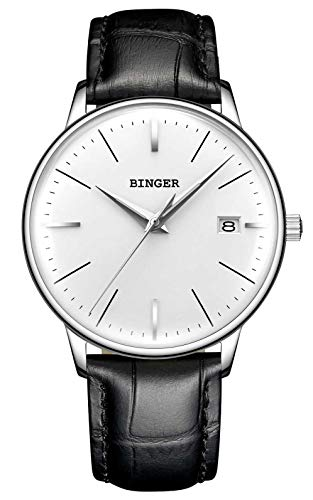 B BINGER Men's Japanese Movement Automatic Mechanical Watch with Curved Crystal Face (White)