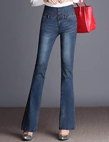 Jeans Couleur Pantalon Taille Unie Haute pour Gray YFLTZ Femme 45wSnn