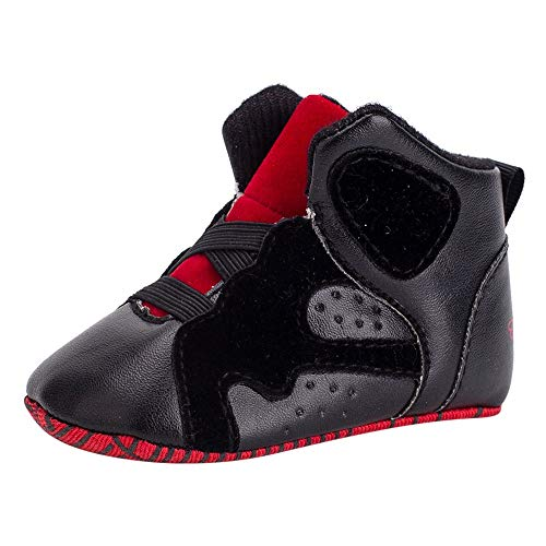 Infant Baby Girls Boys Walking Shoes Boot for 0-18 Month,Toddler Basketball Geometric Soft Sole Casual Crib Shoes (6-12 Months, Black)