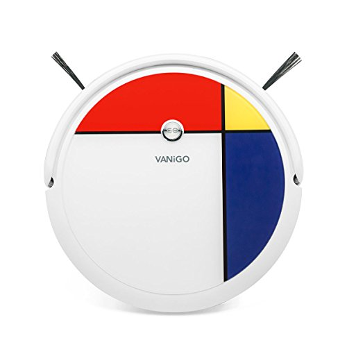 VANiGO Smart Robotic Vacuum Cleaner with ESLAM Mapping Gyro Navigation, Mondrian Design 1400PA Strong Suction, 3 in 1 Sweep Mop Robot for Hair, Thin Carpet and Hard Floor