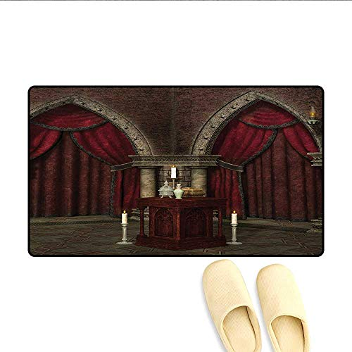 Bath Mat,Mysterious Dark Room in Castle Ancient Pillars Candles Spiritual Atmosphere Pattern,Doormat Outside,Red Black,Size:32