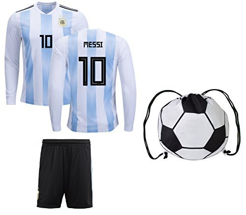 5a3ac221c Argentina Home Messi Kids  10 Soccer Kit Long Sleeve Jersey and Shorts All  Youth Sizes (Kids Medium 8-10 years of age) - Buy Online in UAE.