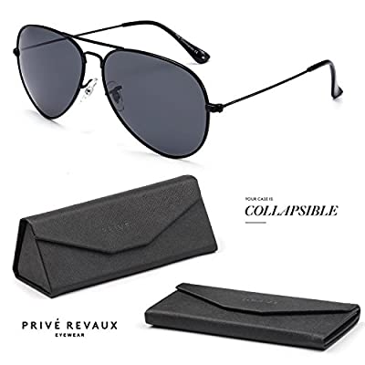 "PRIVE REVAUX ""The Commando"" Handcrafted Designer Polarized Aviator Sunglasses"