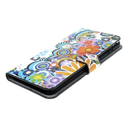 (2#) Magnetisch Beutel Blume PU Leder Stehen Tasche Hülle Schale Schutzhülle Case Cover für Apple iPhone 6 Plus (5.5 inches)