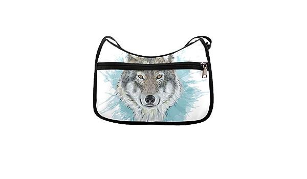 Grey Wolf Portrait Animal Messenger Bag Crossbody Bag Large Durable Shoulder School Or Business Bag Oxford Fabric For Mens Womens