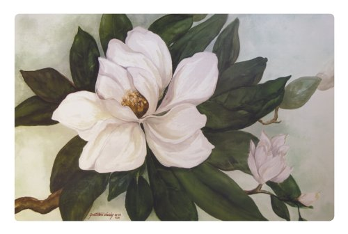 - Southern Magnolia Flower Washable Plastic Vinyl Placemats Set of Four