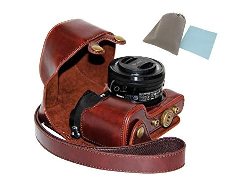No.2 Warehouse Protective PU Leather Camera Case Bag For Sony Alpha A6000 with 16-50mm (dark brown)+ a Piece of Clean Cloth