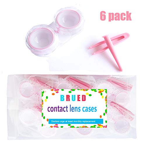 6 Pack of Durable Contact Lens Cases Bulk with Silicone Contact Lense Remover Tool & Tweezers for Contacts Lenses (Pink)