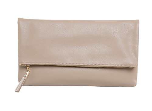 MARKFRAN Oversized Foldover Womens Handbag Clutch Purse (Taupe Grey) by Markfran