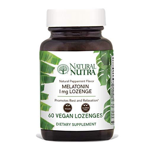 Natural Nutra Melatonin Lozenges, Peppermint Flavor, Vegan and Vegetarian, 1mg, 60 Dissolvable Tablets (Peppermint 1 Mg 300 Tabs)
