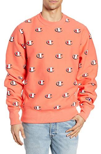 - Champion LIFE Men's Reverse Weave All Over Print Crew Neck Fleece (XX-Large, Scibble Logo Groovy Papaya)
