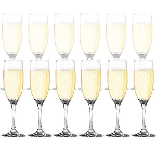 DailywareTM Toasting Flutes (Set of 12), Elegant Style Glasses, Perfect for Special Occassions