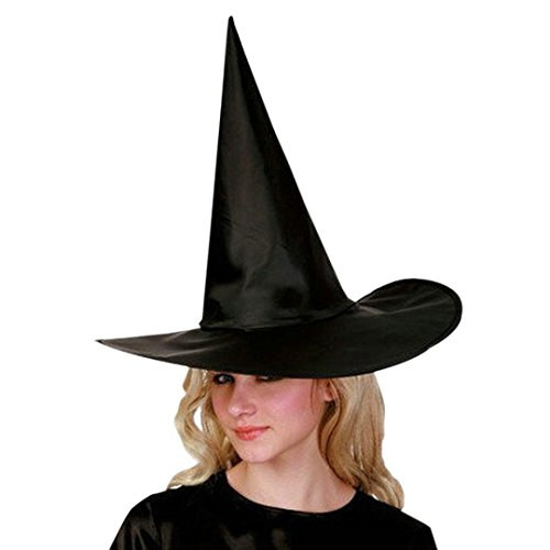 Deluxe Plush Turkey Costumes (Tenworld 6Pcs Adult Womens Black Witch Hat For Halloween Costume Accessory Cap)