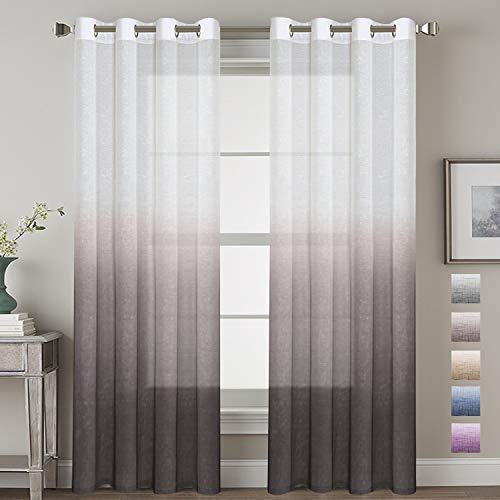 (H.VERSAILTEX Taupe Gray Curtains Natural Linen Mixed Semi Sheer Curtains 96 Inches Long Beautiful Ombre Sheer Window Elegant Curtains/Drapes/Panels/Treatment, 2 Panels )