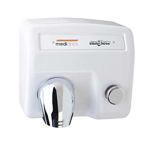 Saniflow E88 Push Button Operated Hand Dryer, Steel One-piece Cover with White Porcelain Enamelled Coating 5/64