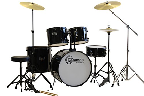Black Drum Set 5 Piece Complete Full Size Adult Set with Cymbals Stands Stool and Extra Boom Stand by Gammon Percussion