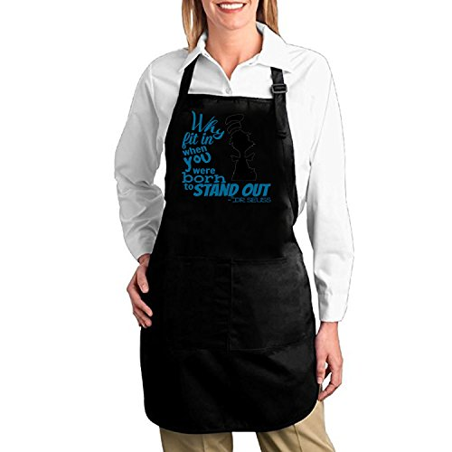 EFLN Dr-Seuss-Quotes-why-fit-in-when-you- cooking Kitchen bib Aprons Adjustable baking apron with pockets