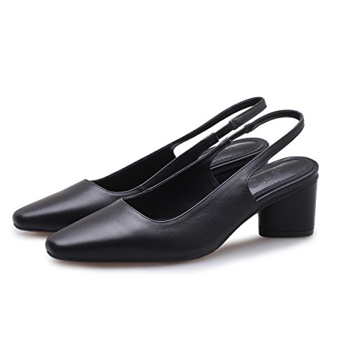 Zapatos Con De Gruesa Alto Tacones Cabeza Alto Sandalias VIVIOO Mujer De De Altos Tacón Sandalias De De Black Verano Cuadrado Baotou Mujer Shoessandals Tacón Salvajes YTaUYR8n