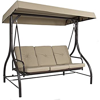 Best Choice Products Converting Outdoor Swing Canopy Hammock Seats 3 Patio Deck Furniture Tan  sc 1 st  Amazon.com : outdoor glider swing with canopy - memphite.com