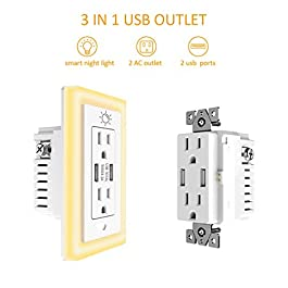 USB Wall outlet, 15A Duplex Receptacle with Dual USB ports (5V/4.2A) and Dusk-to-Dawn Sensor Night Light, ETL Certified, 6 Pack