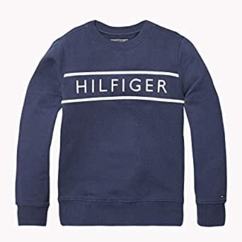 TOMMY HILFIGER Boys' 3D Embroidery Logo Sweatshirt, Black Iris, 3 Years
