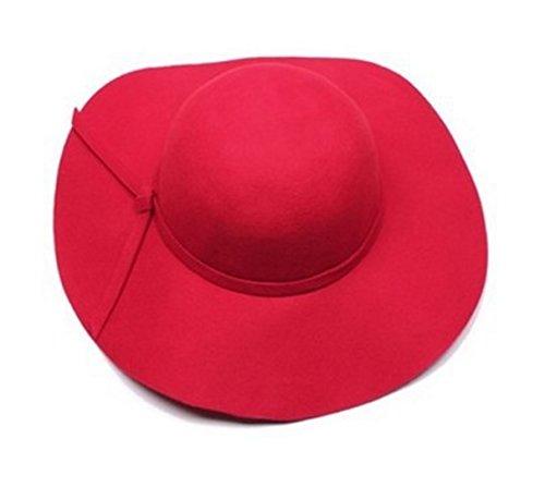 Onlineb2c Vintage Baby Girls Floppy Wide Brim Wool Felt Fedora Cloche Hat Cap (Red) -