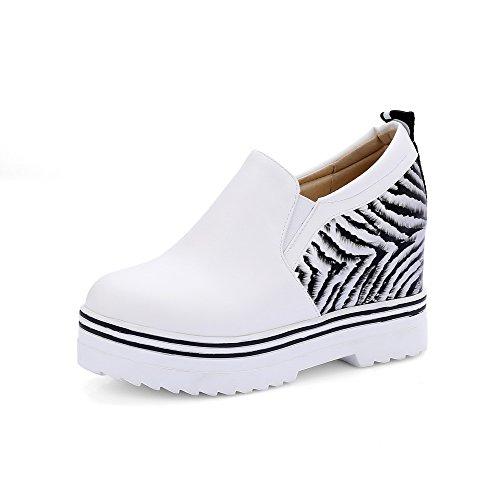VogueZone009 Damen Hoher Absatz Gemischte Farbe Ziehen auf Rund Zehe Pumps Schuhe Weiß