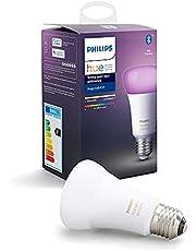 Philips Hue Standaard Lamp 1-Pack - E27 - Duurzame LED Verlichting - Wit en Gekleurd Licht - Dimbaar - Verbind met Bluetooth of Hue Bridge - Werkt met Alexa en Google Home