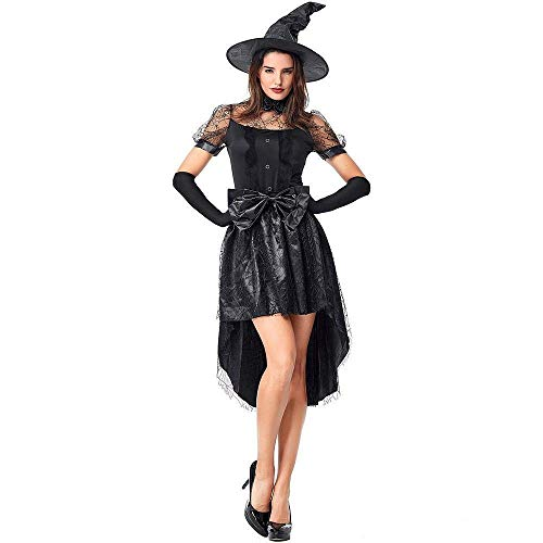 (Fashion-Cos1 Luxury Black Witch Costume Women Carnival Halloween Fantasia Magician Witch Cosplay Costume Lady Fancy Dress (Size :)
