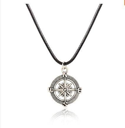 Amazon Com Men S Necklace Men S Compass Necklace Men S Silver