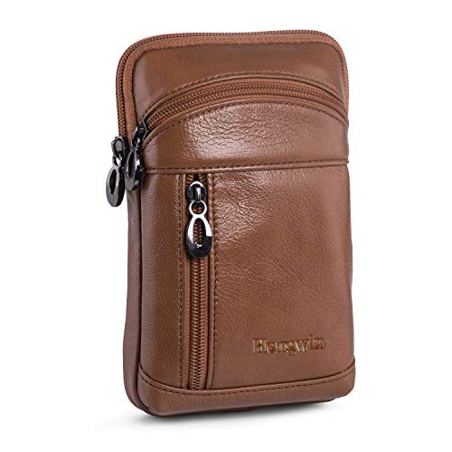 Hengwin Leather Holster Pouch Case Cross Body Bag for Man Purse iPhone Xs Max XS 8 7 6 Plus Holster Belt Clip Phone Pouch Holster with Belt Loop Waist Bag Pack for Samsung Galaxy S9 Plus (Brown)