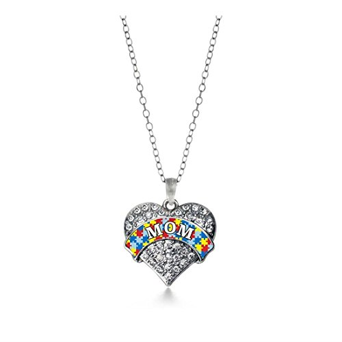 Inspired Silver Autism Mom Pave Heart (Inspired Pave Heart)