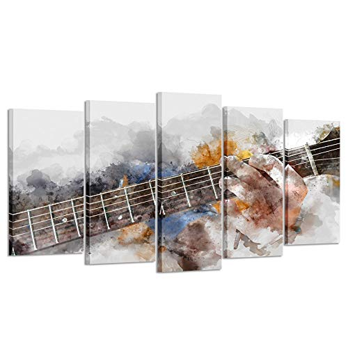 Kreative Arts Music Artistic Canvas Wall Art Guitar 5 Panel Watercolor Painting Picture Print on Canvas for Modern Home Decoration Ready to Hang (Large Size 60x32inch)