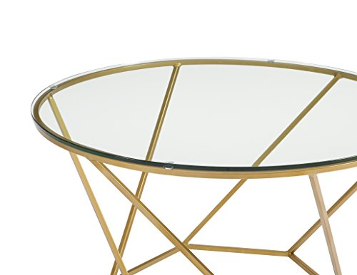 WE Furniture Geometric Glass Nesting Coffee Tables   Gold, Glass/Gold