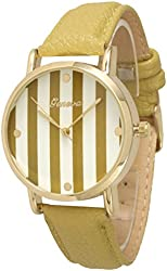 Women's Geneva Striped Leather Watch - Gold