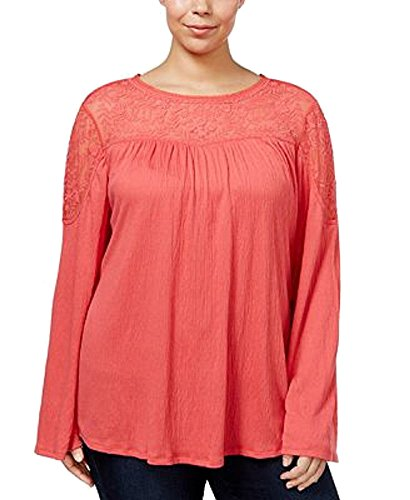 (Style & Co. Womens Plus Free Style Retreat Mesh Yoke Pullover Top Orange 2X)