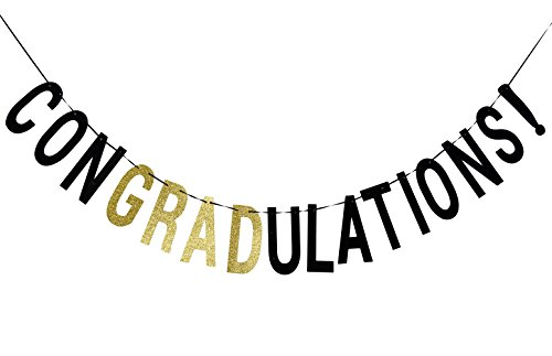 Qttier Congradulations Banner Graduation Glitter Sign Photo Props