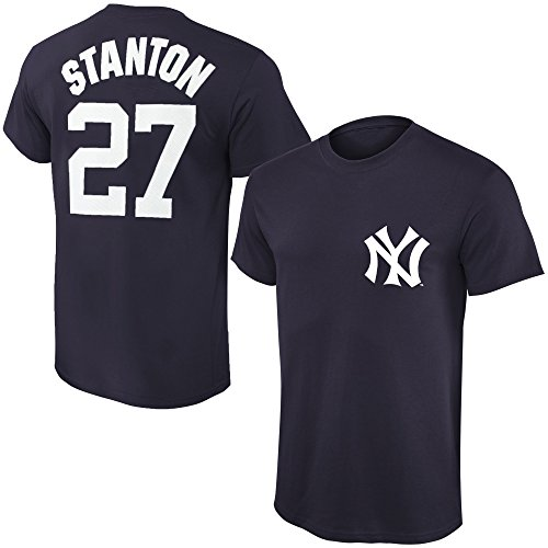 Outerstuff MLB Youth Performance Team Color Player Name and Number Jersey T-Shirt (X-Large 18/20, Giancarlo Stanton)]()