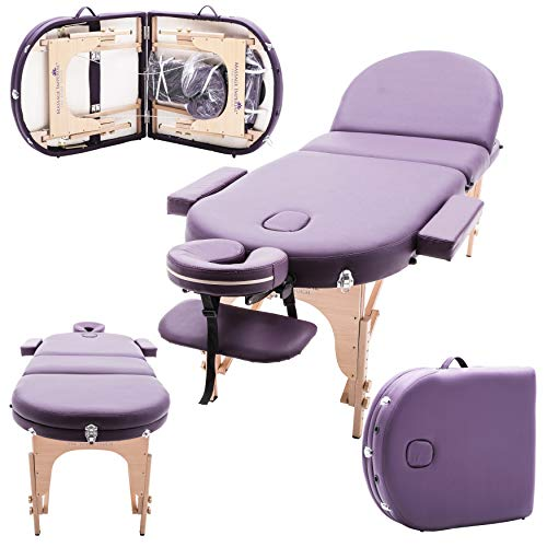 Massage Imperial Monarch Purple 3-Section Portable Massage Table 7cm/3″ High Density Foam