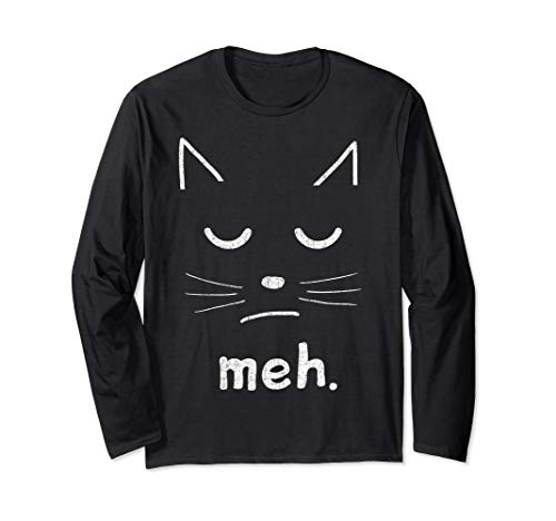Unique Homemade Halloween Costume Ideas For Adults (Funny Cat Face Meh Meme Mummy Halloween Party Costume Tee Long Sleeve)