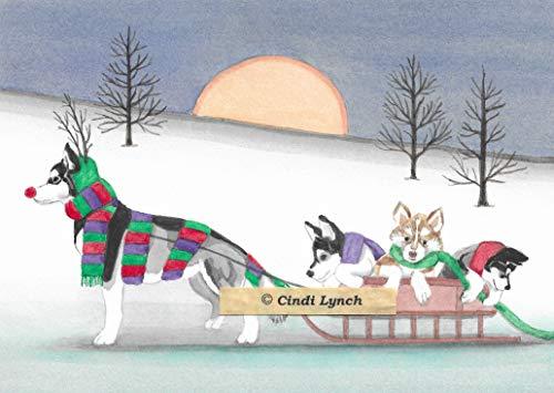 12 Christmas Cards: Siberian husky family takes holiday sled ride/Lynch folk -