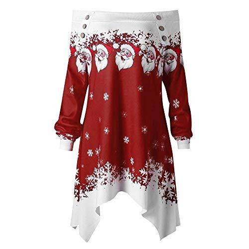 Christmas Women Zipper Dots Print Tops Hooded Sweatshirt Pullover Blouse T-Shirt Duseedik -