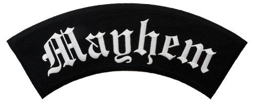 Mayhem Top Rocker Embroidered Patch Large Iron-On Motorcycle Biker Emblem