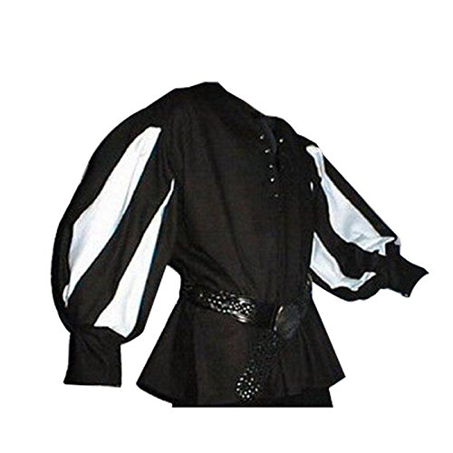 Mercenaries 2 All Costumes (Medieval Men Costume Mens Tunic Pirate Mercenary Scottish Wide Cuff Shirt Assorted Colors (L, 02))